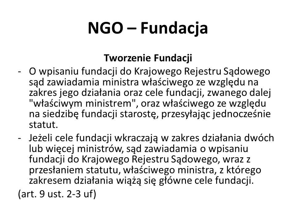 NGO – Fundacja Tworzenie Fundacji -O wpisaniu fundacji do Krajowego Rejestru Sądowego sąd zawiadamia ministra właściwego ze względu na zakres jego działania oraz cele fundacji, zwanego dalej właściwym ministrem , oraz właściwego ze względu na siedzibę fundacji starostę, przesyłając jednocześnie statut.