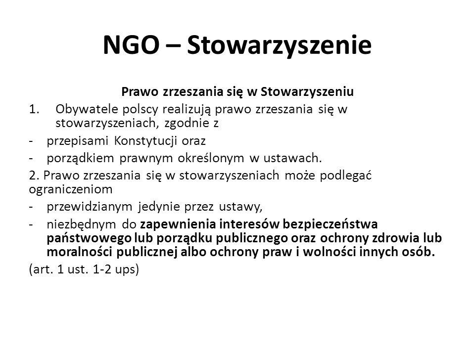 NGO – Stowarzyszenie Prawo zrzeszania się w Stowarzyszeniu 1.Obywatele polscy realizują prawo zrzeszania się w stowarzyszeniach, zgodnie z -przepisami Konstytucji oraz -porządkiem prawnym określonym w ustawach.
