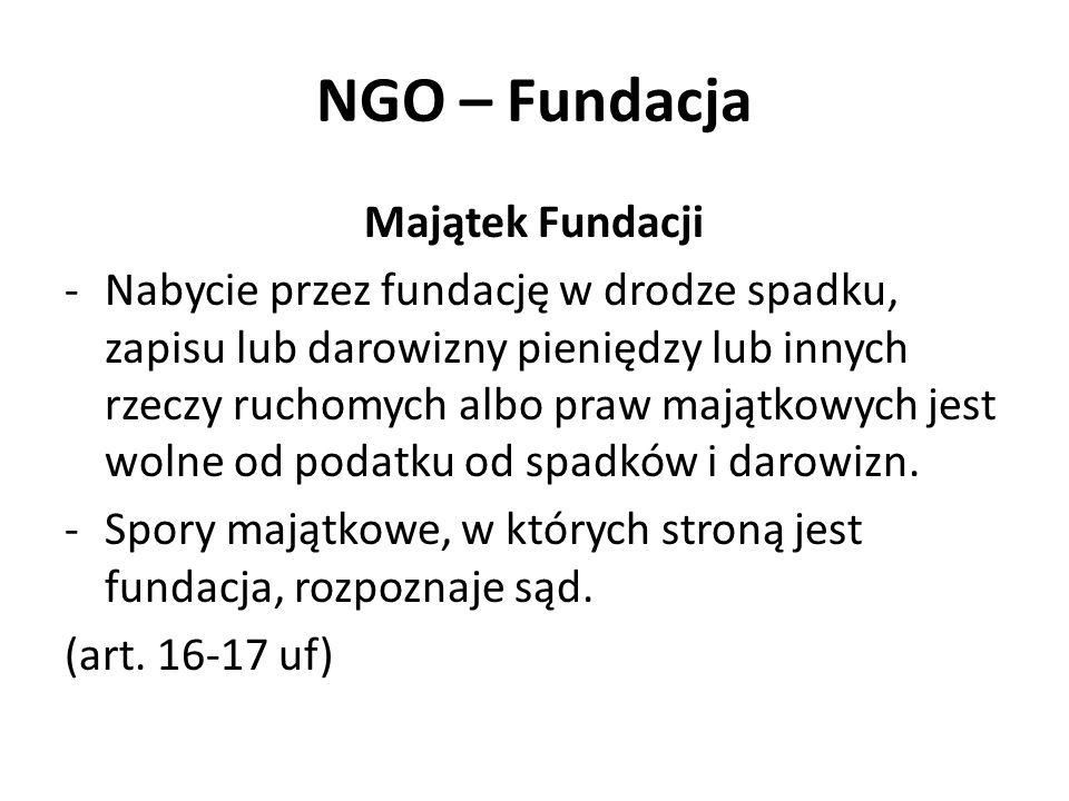 NGO – Fundacja Majątek Fundacji -Nabycie przez fundację w drodze spadku, zapisu lub darowizny pieniędzy lub innych rzeczy ruchomych albo praw majątkowych jest wolne od podatku od spadków i darowizn.