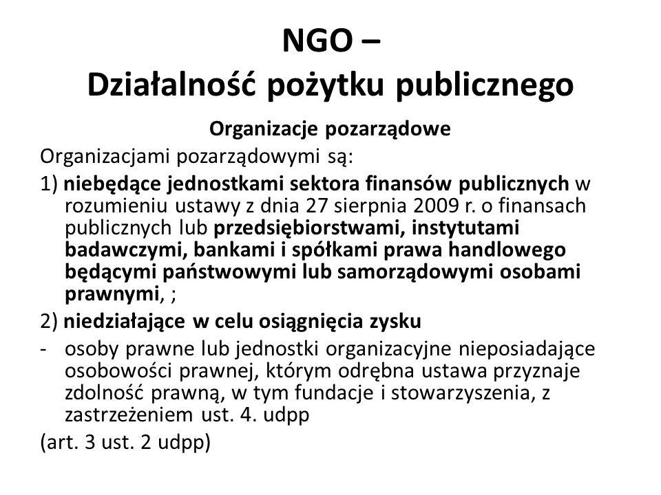 NGO – Działalność pożytku publicznego Organizacje pozarządowe Organizacjami pozarządowymi są: 1) niebędące jednostkami sektora finansów publicznych w