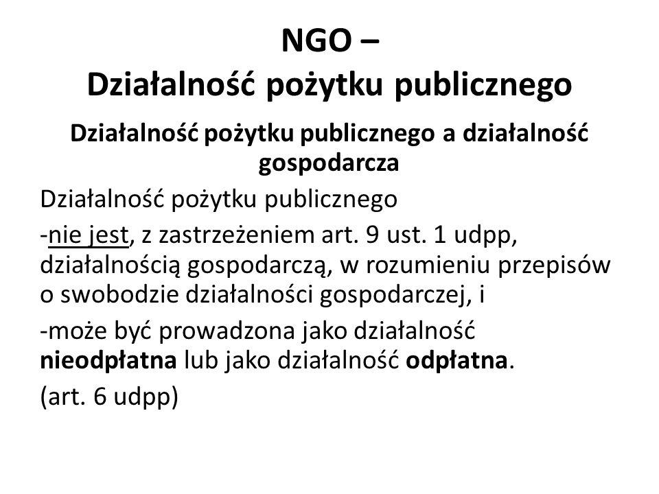 NGO – Działalność pożytku publicznego Działalność pożytku publicznego a działalność gospodarcza Działalność pożytku publicznego -nie jest, z zastrzeżeniem art.