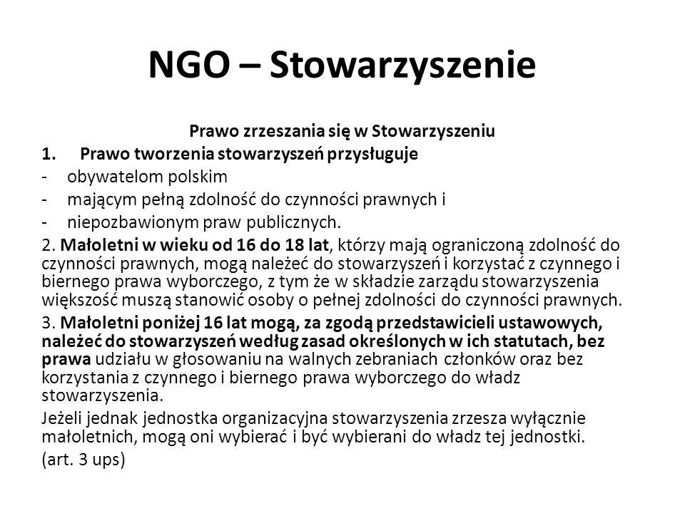 NGO – Stowarzyszenie Prawo zrzeszania się w Stowarzyszeniu 1.Prawo tworzenia stowarzyszeń przysługuje -obywatelom polskim -mającym pełną zdolność do czynności prawnych i -niepozbawionym praw publicznych.