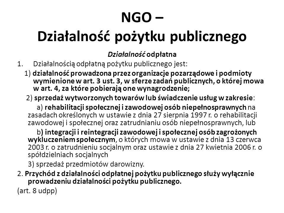 NGO – Działalność pożytku publicznego Działalność odpłatna 1.Działalnością odpłatną pożytku publicznego jest: 1) działalność prowadzona przez organiza