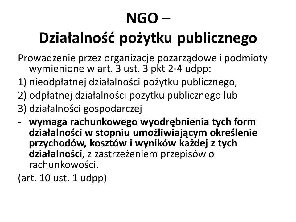 NGO – Działalność pożytku publicznego Prowadzenie przez organizacje pozarządowe i podmioty wymienione w art. 3 ust. 3 pkt 2-4 udpp: 1) nieodpłatnej dz