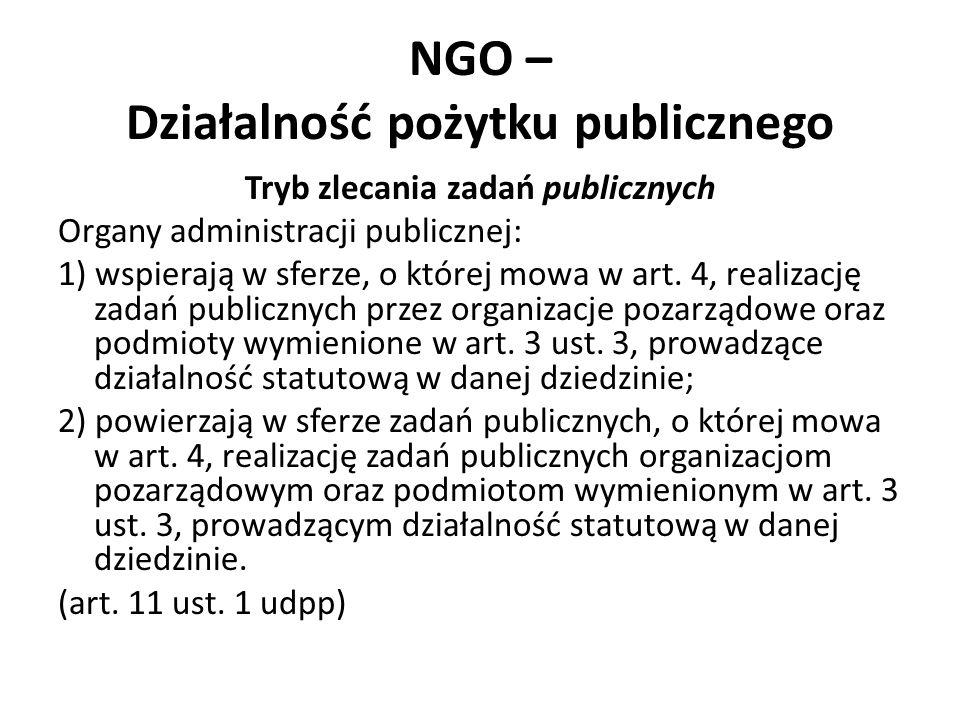NGO – Działalność pożytku publicznego Tryb zlecania zadań publicznych Organy administracji publicznej: 1) wspierają w sferze, o której mowa w art. 4,