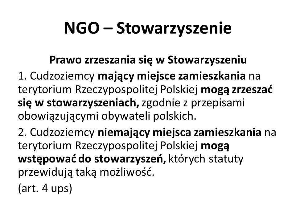 NGO – Stowarzyszenie Stowarzyszenie międzynarodowe 1.Stowarzyszenia międzynarodowe mogą być tworzone na terytorium Rzeczypospolitej Polskiej według zasad określonych w ustawie.