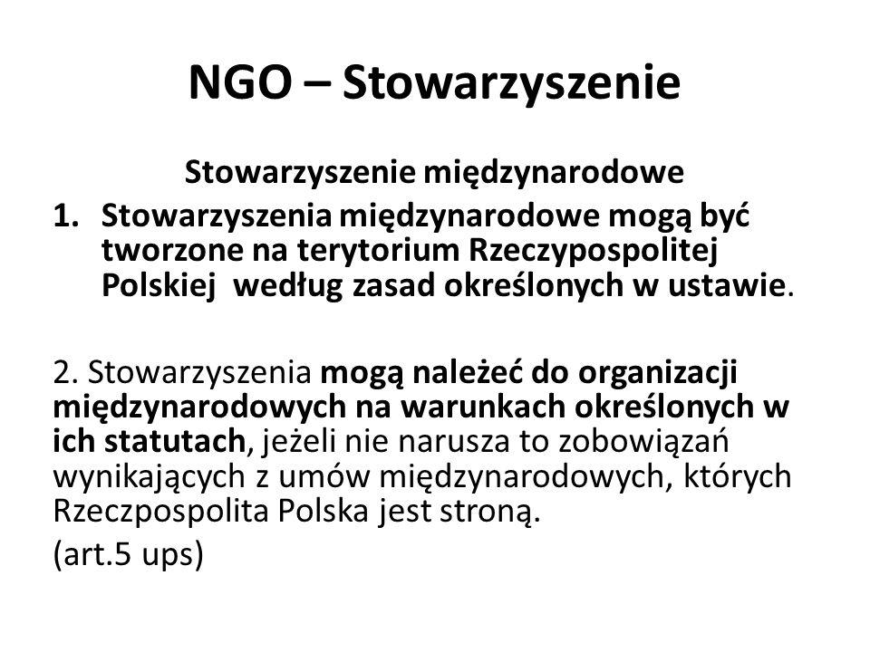NGO – Stowarzyszenie Stowarzyszenie międzynarodowe 1.Stowarzyszenia międzynarodowe mogą być tworzone na terytorium Rzeczypospolitej Polskiej według za