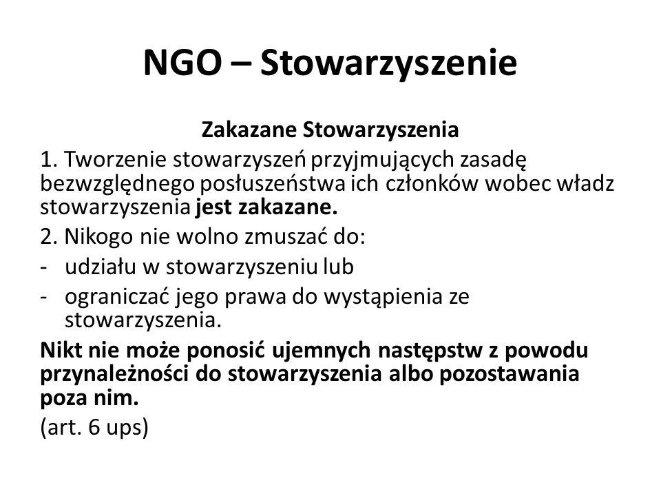 NGO – Stowarzyszenie Zakazane Stowarzyszenia 1. Tworzenie stowarzyszeń przyjmujących zasadę bezwzględnego posłuszeństwa ich członków wobec władz stowa