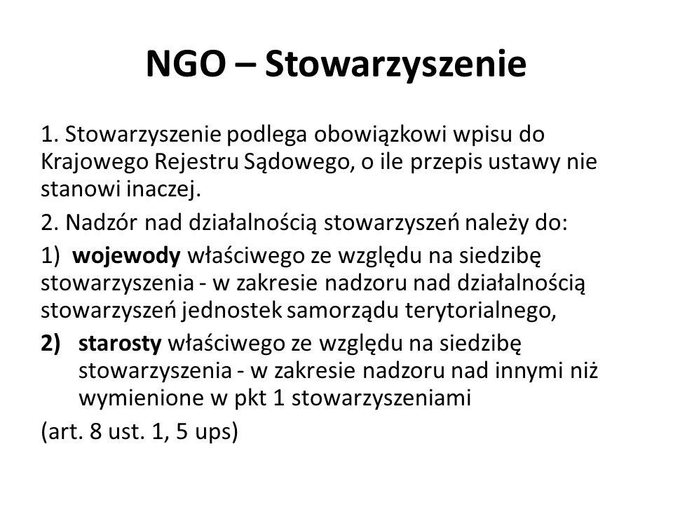 NGO – Stowarzyszenie 1. Stowarzyszenie podlega obowiązkowi wpisu do Krajowego Rejestru Sądowego, o ile przepis ustawy nie stanowi inaczej. 2. Nadzór n
