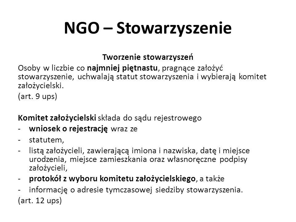 NGO – Stowarzyszenie Tworzenie stowarzyszeń Osoby w liczbie co najmniej piętnastu, pragnące założyć stowarzyszenie, uchwalają statut stowarzyszenia i