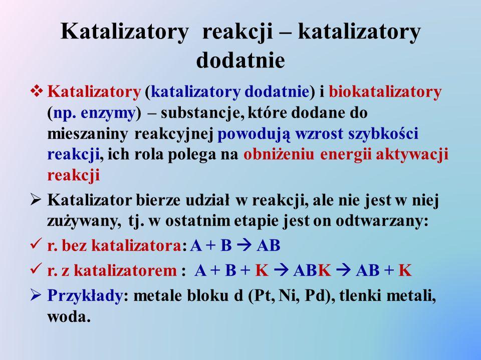 Katalizatory reakcji – katalizatory dodatnie  Katalizatory (katalizatory dodatnie) i biokatalizatory (np. enzymy) – substancje, które dodane do miesz
