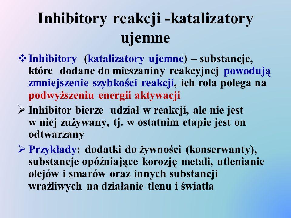 Inhibitory reakcji -katalizatory ujemne  Inhibitory (katalizatory ujemne) – substancje, które dodane do mieszaniny reakcyjnej powodują zmniejszenie s