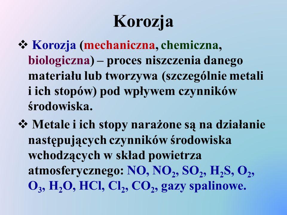 Korozja  Korozja (mechaniczna, chemiczna, biologiczna) – proces niszczenia danego materiału lub tworzywa (szczególnie metali i ich stopów) pod wpływe
