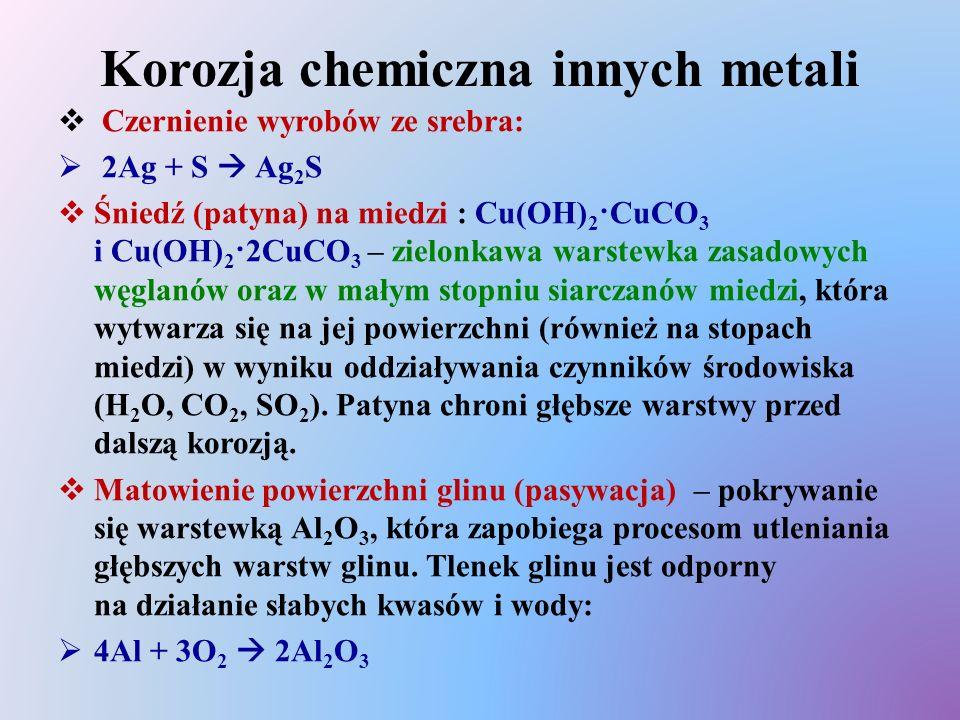 Korozja chemiczna innych metali  Czernienie wyrobów ze srebra:  2Ag + S  Ag 2 S  Śniedź (patyna) na miedzi : Cu(OH) 2 ·CuCO 3 i Cu(OH) 2 ·2CuCO 3