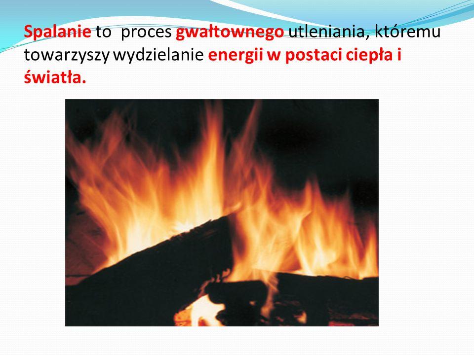 Spalanie to proces gwałtownego utleniania, któremu towarzyszy wydzielanie energii w postaci ciepła i światła.
