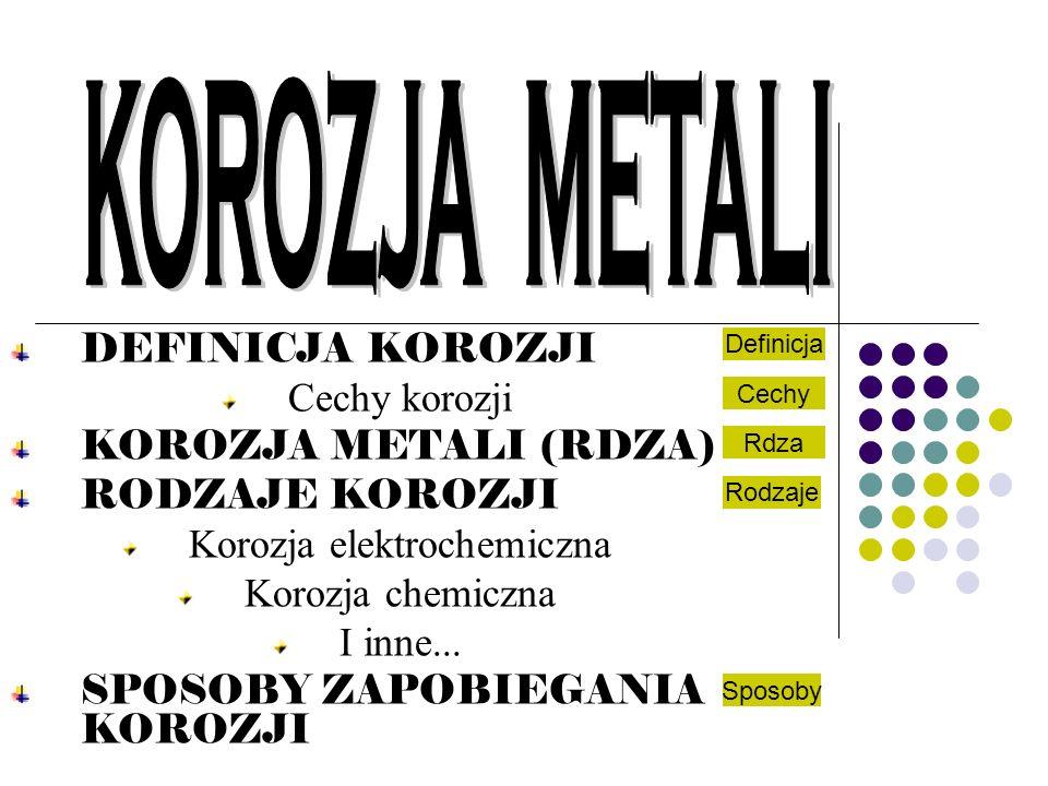 DEFINICJA KOROZJI Cechy korozji KOROZJA METALI (RDZA) RODZAJE KOROZJI Korozja elektrochemiczna Korozja chemiczna I inne... SPOSOBY ZAPOBIEGANIA KOROZJ