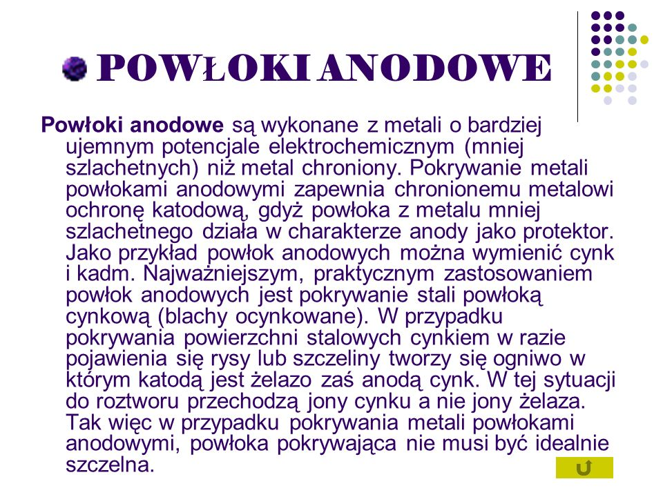 POW Ł OKI ANODOWE Powłoki anodowe są wykonane z metali o bardziej ujemnym potencjale elektrochemicznym (mniej szlachetnych) niż metal chroniony. Pokry