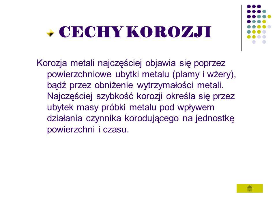 KOROZJA METALI (RDZA) Proces korozji metali jest nazywany rdzewieniem.