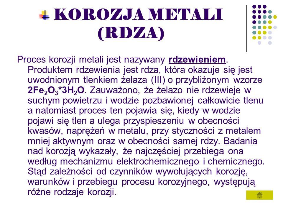 KOROZJA METALI (RDZA) Proces korozji metali jest nazywany rdzewieniem. Produktem rdzewienia jest rdza, która okazuje się jest uwodnionym tlenkiem żela