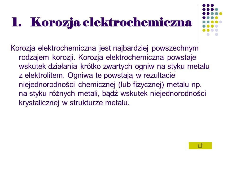 1.Korozja elektrochemiczna Korozja elektrochemiczna jest najbardziej powszechnym rodzajem korozji. Korozja elektrochemiczna powstaje wskutek działania