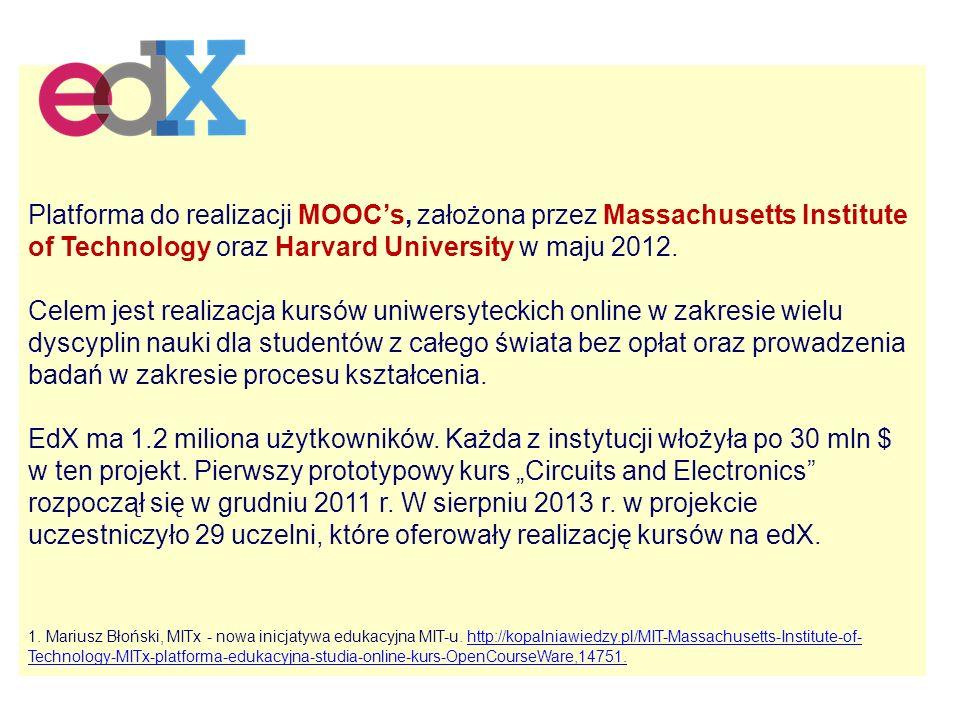 Platforma do realizacji MOOC's, założona przez Massachusetts Institute of Technology oraz Harvard University w maju 2012.