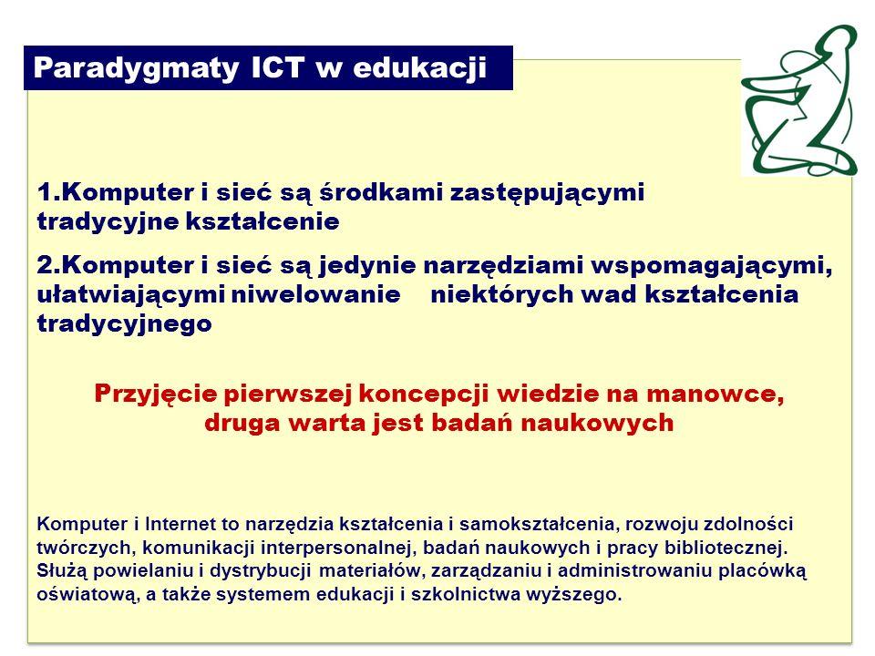16 1.Komputer i sieć są środkami zastępującymi tradycyjne kształcenie 2.Komputer i sieć są jedynie narzędziami wspomagającymi, ułatwiającymi niwelowanie niektórych wad kształcenia tradycyjnego Przyjęcie pierwszej koncepcji wiedzie na manowce, druga warta jest badań naukowych Komputer i Internet to narzędzia kształcenia i samokształcenia, rozwoju zdolności twórczych, komunikacji interpersonalnej, badań naukowych i pracy bibliotecznej.