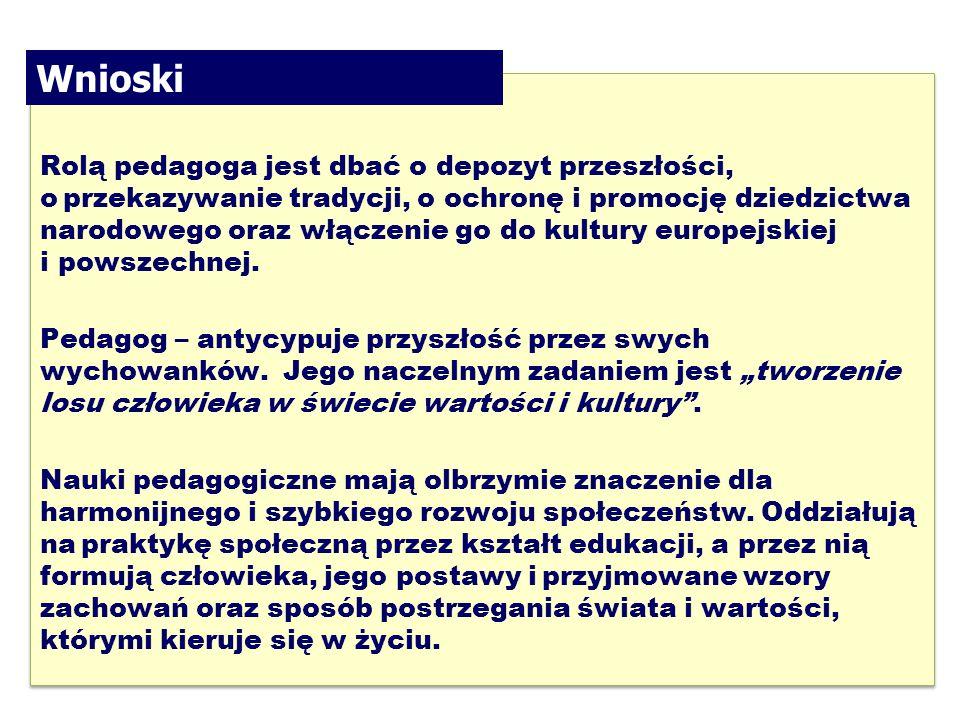 21 Rolą pedagoga jest dbać o depozyt przeszłości, oprzekazywanie tradycji, o ochronę i promocję dziedzictwa narodowego oraz włączenie go do kultury europejskiej i powszechnej.
