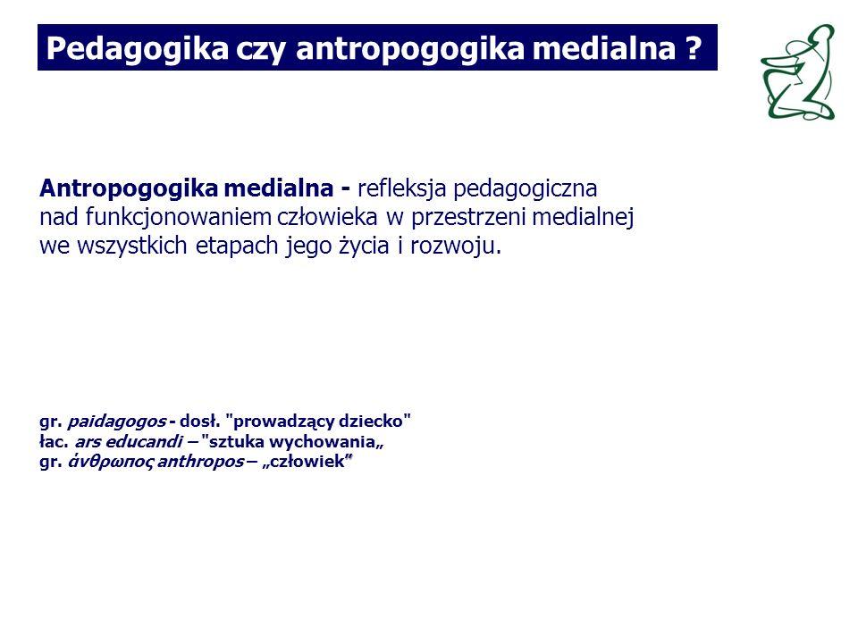 Antropogogika medialna - refleksja pedagogiczna nad funkcjonowaniem człowieka w przestrzeni medialnej we wszystkich etapach jego życia i rozwoju.