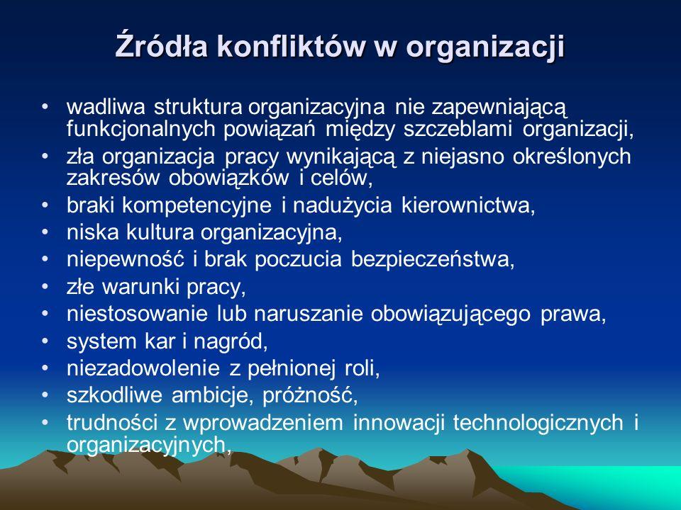 Źródła konfliktów w organizacji wadliwa struktura organizacyjna nie zapewniającą funkcjonalnych powiązań między szczeblami organizacji, zła organizacj