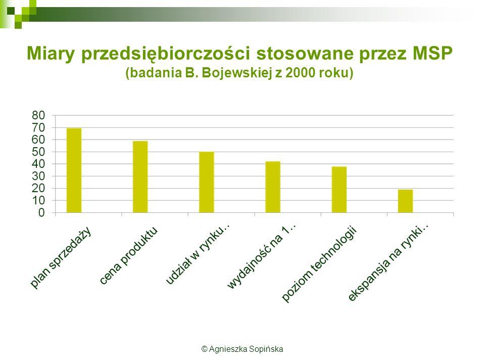 Miary przedsiębiorczości stosowane przez MSP (badania B.