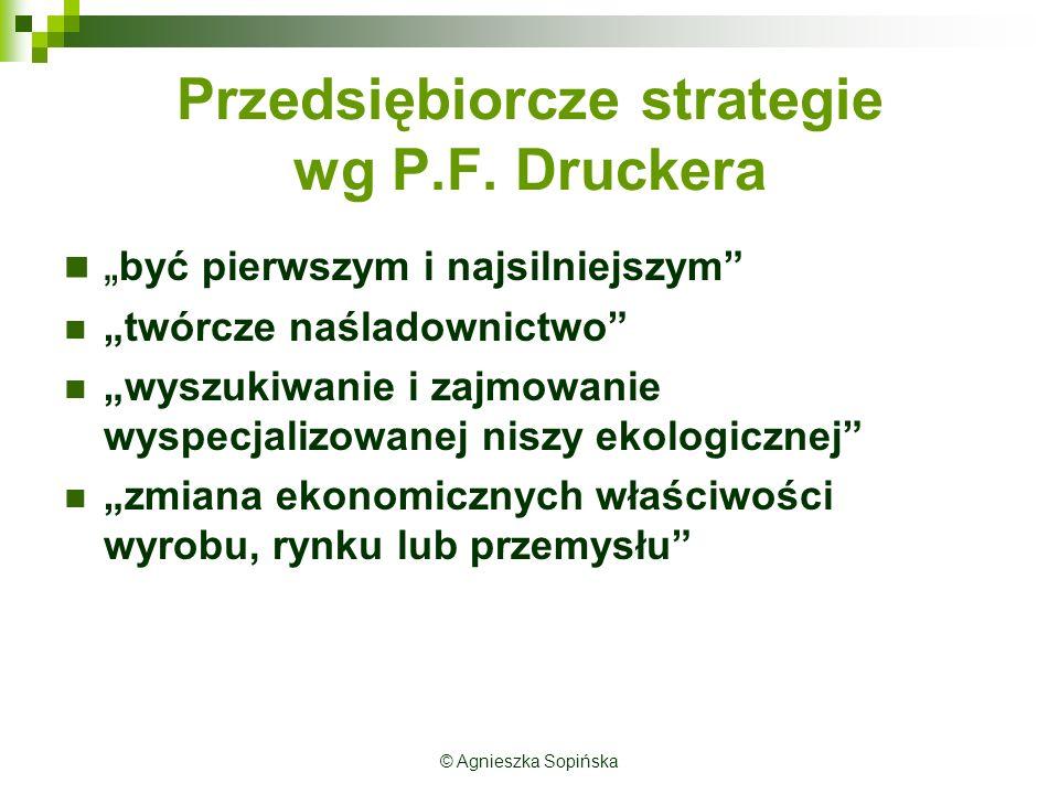"""Przedsiębiorcze strategie wg P.F. Druckera """" być pierwszym i najsilniejszym"""" """"twórcze naśladownictwo"""" """"wyszukiwanie i zajmowanie wyspecjalizowanej nis"""