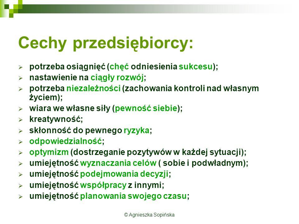 Uwarunkowania przedsiębiorczości MSP (badania B. Bojewskiej z 2000 roku) © Agnieszka Sopińska
