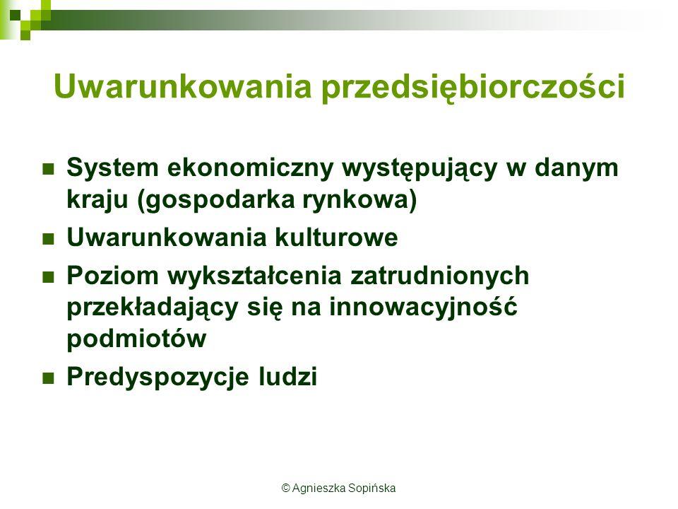 Uwarunkowania przedsiębiorczości System ekonomiczny występujący w danym kraju (gospodarka rynkowa) Uwarunkowania kulturowe Poziom wykształcenia zatrud