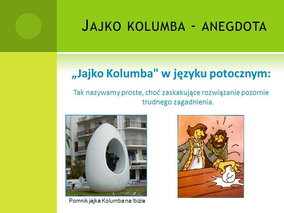 """J AJKO KOLUMBA - ANEGDOTA """"Jajko Kolumba w języku potocznym: Tak nazywamy proste, choć zaskakujące rozwiązanie pozornie trudnego zagadnienia."""