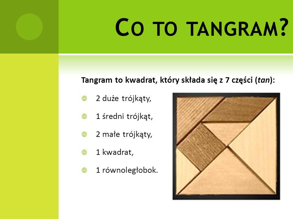 C O TO TANGRAM ? Tangram to kwadrat, który składa się z 7 części (tan):  2 duże trójkąty,  1 średni trójkąt,  2 małe trójkąty,  1 kwadrat,  1 rów