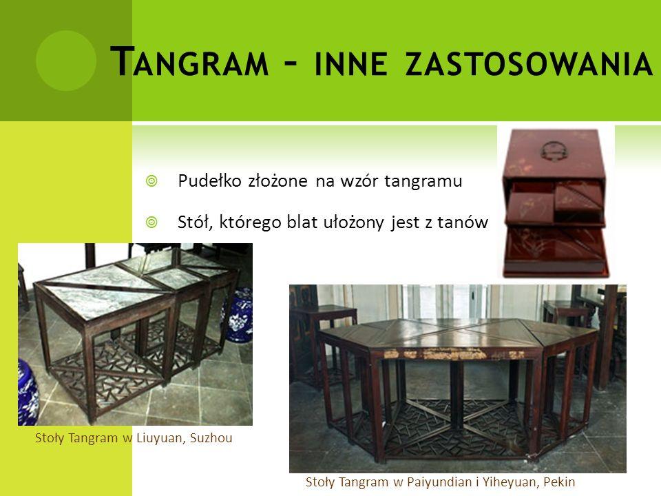 T ANGRAM – INNE ZASTOSOWANIA  Pudełko złożone na wzór tangramu  Stół, którego blat ułożony jest z tanów Stoły Tangram w Paiyundian i Yiheyuan, Pekin