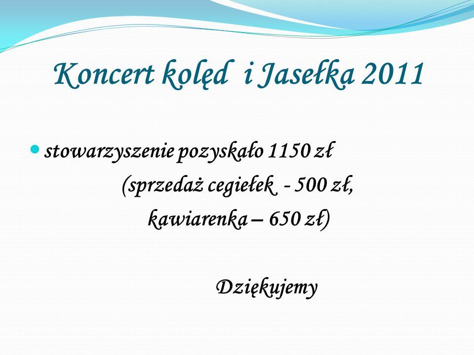 Koncert kolęd i Jasełka 2011 stowarzyszenie pozyskało 1150 zł (sprzedaż cegiełek - 500 zł, kawiarenka – 650 zł) Dziękujemy