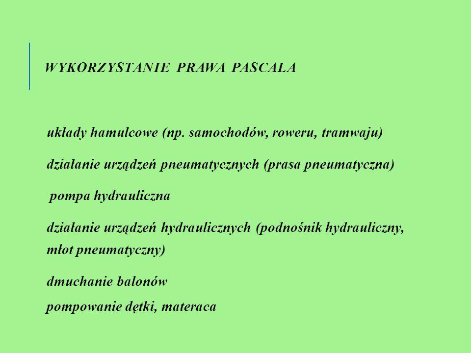 WYKORZYSTANIE PRAWA PASCALA układy hamulcowe (np.