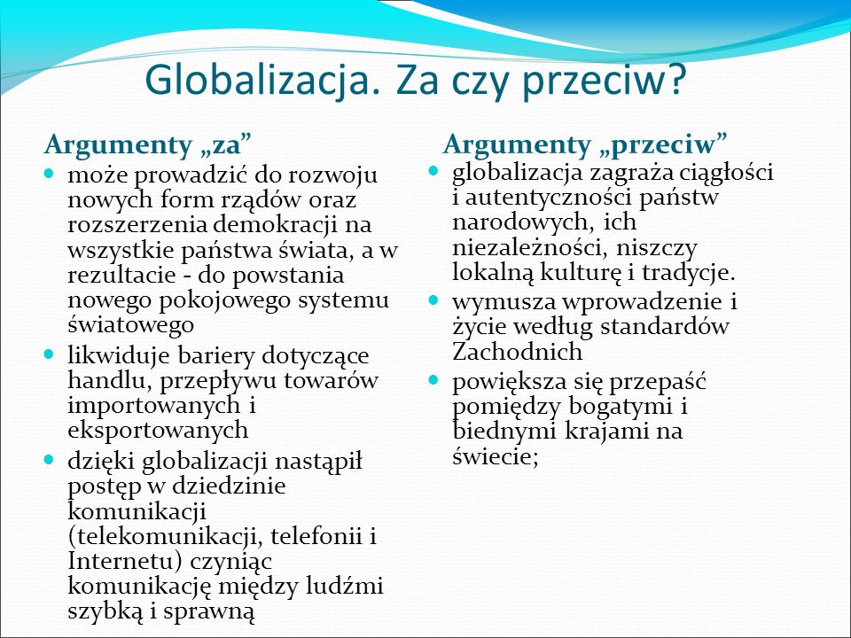 """Globalizacja. Za czy przeciw? Argumenty """"za"""" Argumenty """"przeciw"""" może prowadzić do rozwoju nowych form rządów oraz rozszerzenia demokracji na wszystki"""