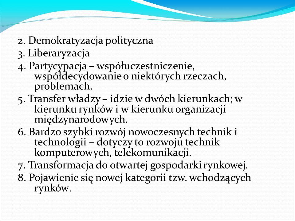 2. Demokratyzacja polityczna 3. Liberaryzacja 4. Partycypacja – współuczestniczenie, współdecydowanie o niektórych rzeczach, problemach. 5. Transfer w