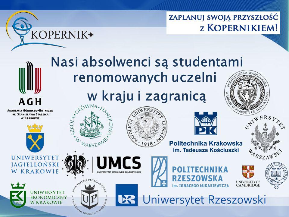 Nasi absolwenci są studentami renomowanych uczelni w kraju i zagranicą