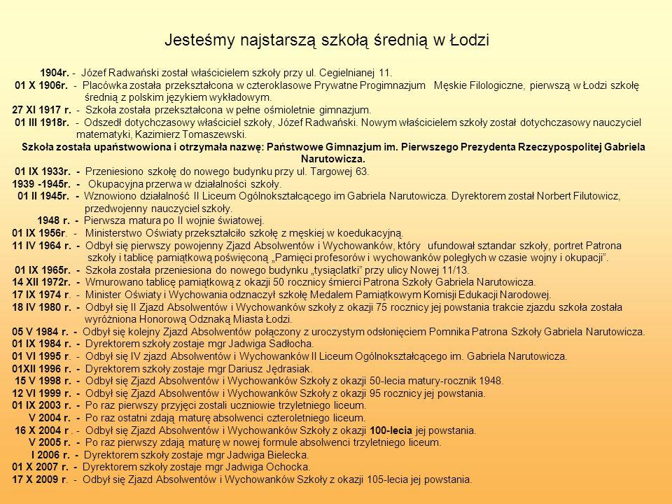 Jesteśmy najstarszą szkołą średnią w Łodzi 1904r. - Józef Radwański został właścicielem szkoły przy ul. Cegielnianej 11. 01 X 1906r. - Placówka został