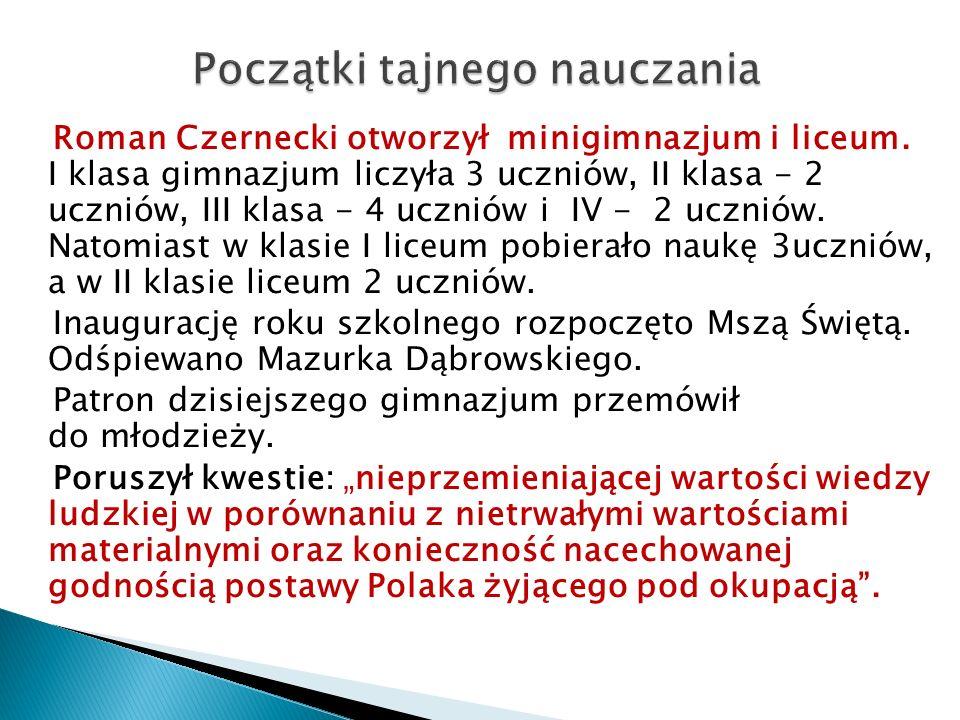  Do nauczania młodzieży Roman Czernecki przydzielił ks.