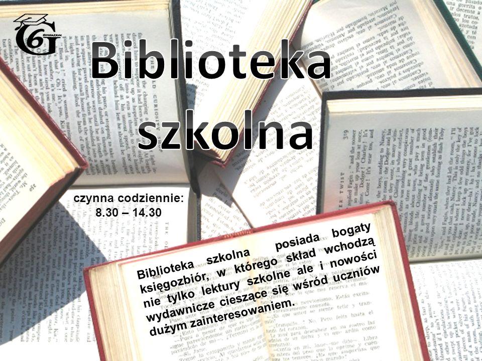 czynna codziennie: 8.30 – 14.30 Biblioteka szkolna posiada bogaty księgozbiór, w którego skład wchodzą nie tylko lektury szkolne ale i nowości wydawnicze cieszące się wśród uczniów dużym zainteresowaniem.