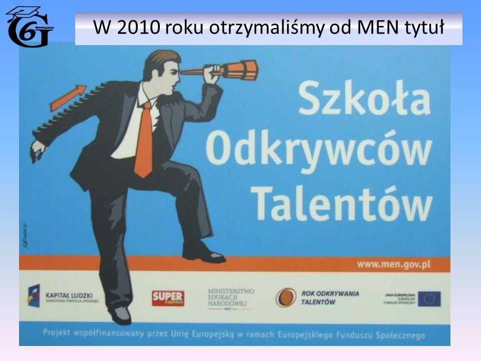 W 2010 roku otrzymaliśmy od MEN tytuł