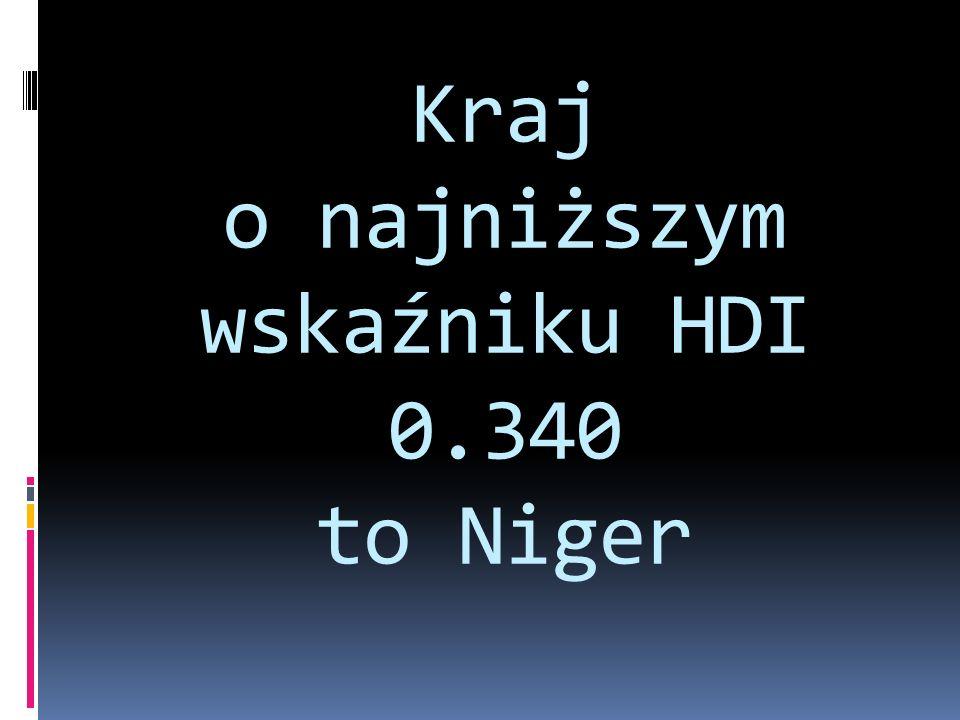 Kraj o najniższym wskaźniku HDI 0.340 to Niger