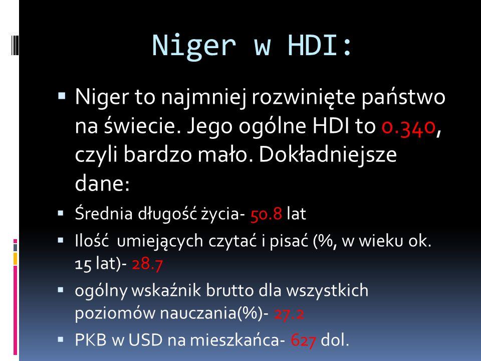 Niger w HDI:  Niger to najmniej rozwinięte państwo na świecie.