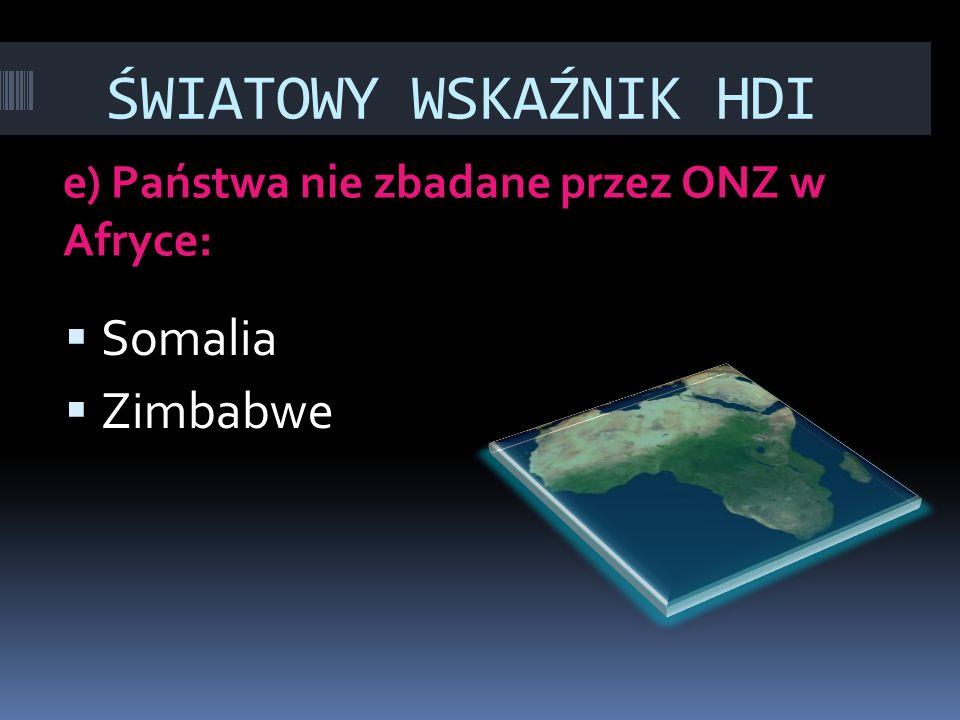 ŚWIATOWY WSKAŹNIK HDI e) Państwa nie zbadane przez ONZ w Afryce:  Somalia  Zimbabwe