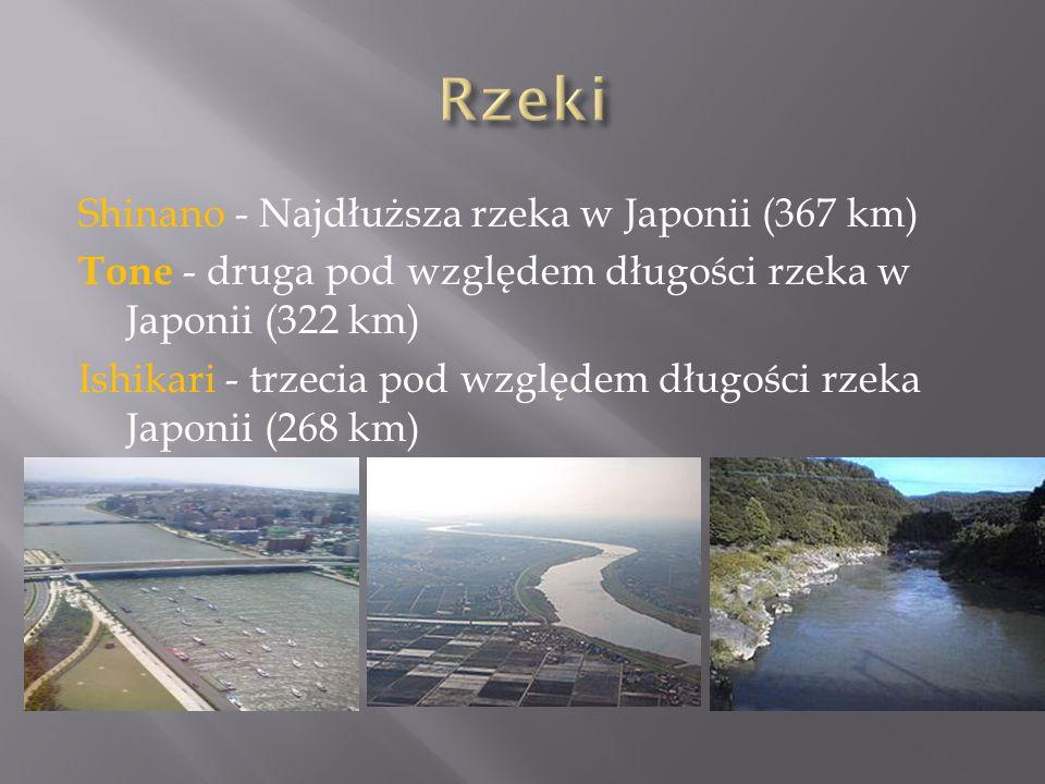 Shinano - Najdłuższa rzeka w Japonii (367 km) Tone - druga pod względem długości rzeka w Japonii (322 km) Ishikari - trzecia pod względem długości rzeka Japonii (268 km)