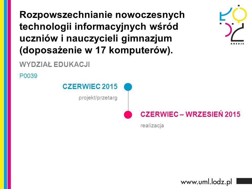CZERWIEC 2015 projekt/przetarg CZERWIEC – WRZESIEŃ 2015 realizacja Rozpowszechnianie nowoczesnych technologii informacyjnych wśród uczniów i nauczycieli gimnazjum (doposażenie w 17 komputerów).
